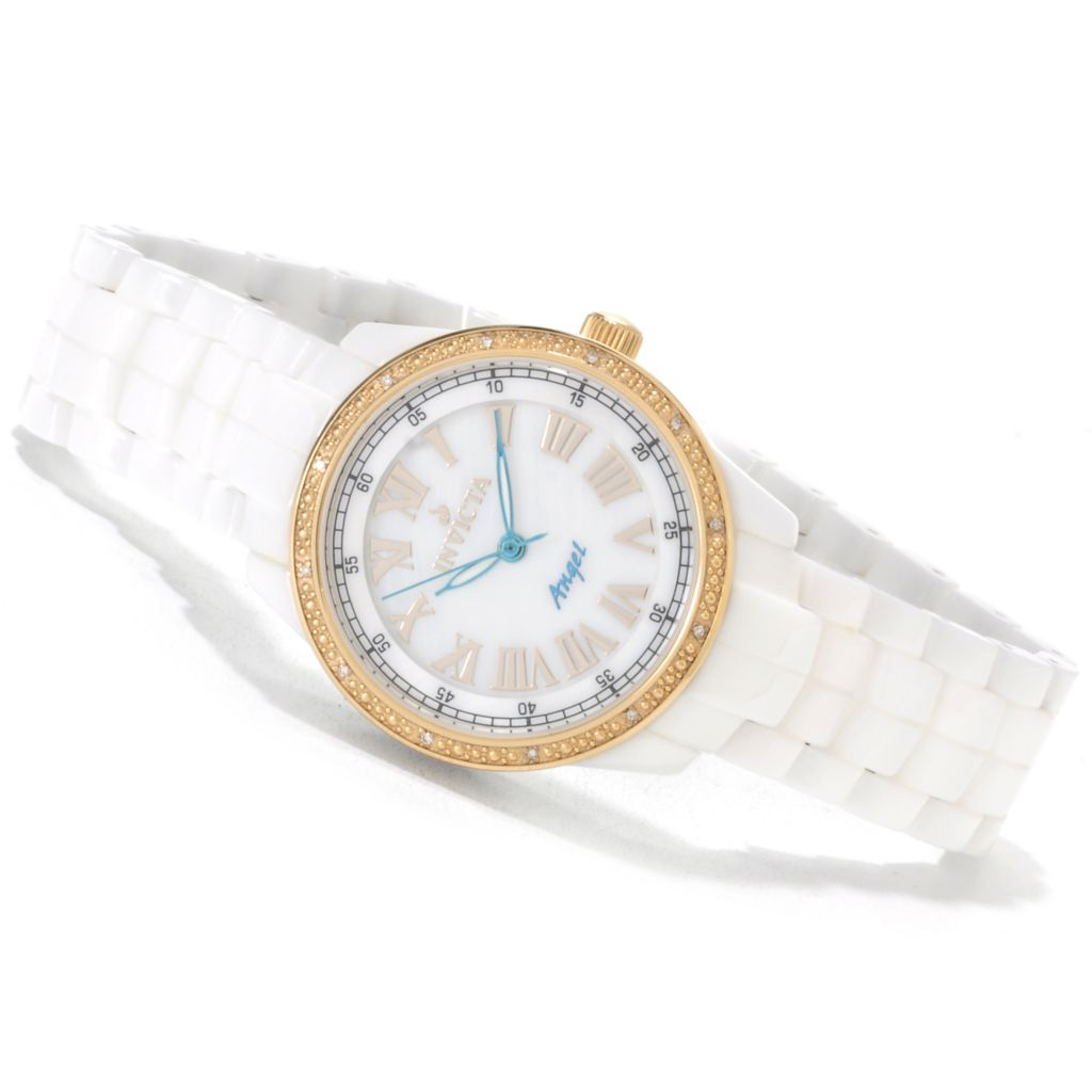 622-296 - Invicta Women's Angel Ceramics Quartz Mother-of-Pearl Diamond Accent Ceramic Bracelet Watch