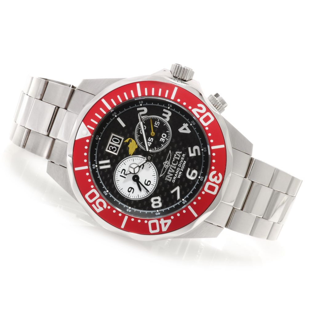 622-320 - Invicta Men's Grand Diver Swiss Quartz Dual Time Carbon Fiber Dial Bracelet Watch