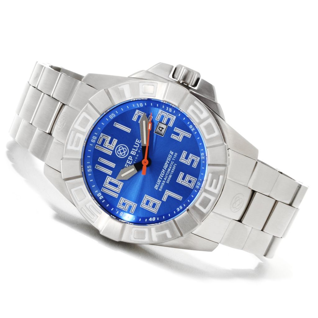 622-327 - Deep Blue 50mm Bluetech Abyss II T-100 Swiss Automatic Stainless Steel Bracelet Watch