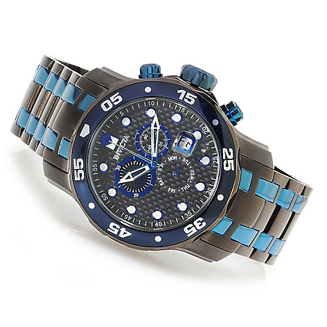 622-368 - Invicta Men's Pro Diver Scuba Quartz Chronograph Carbon Fiber Dial Bracelet Watch