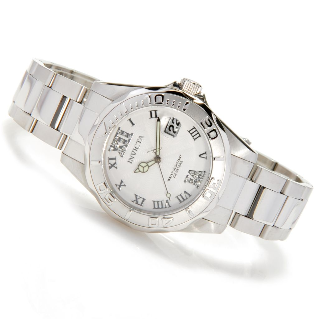 622-398 - Invicta Women's Angel Diver Quartz Crystal Accented Dial Bracelet Watch w/ Travel Case