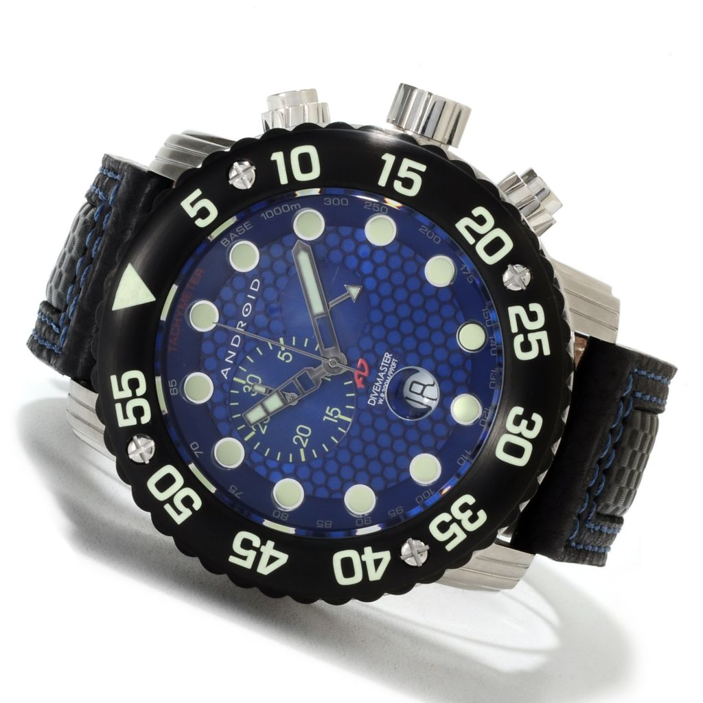 622-429 - Android Men's Divemaster Gauge Quartz Chronograph Leather Strap Watch