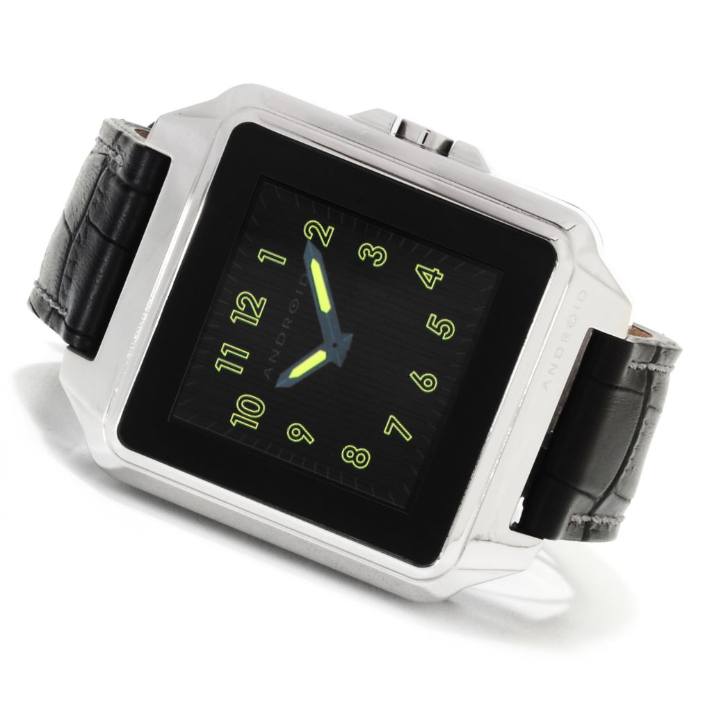 622-436 - Android Rounded Rectangular Galactopus Digital Touchscreen Leather Strap Watch
