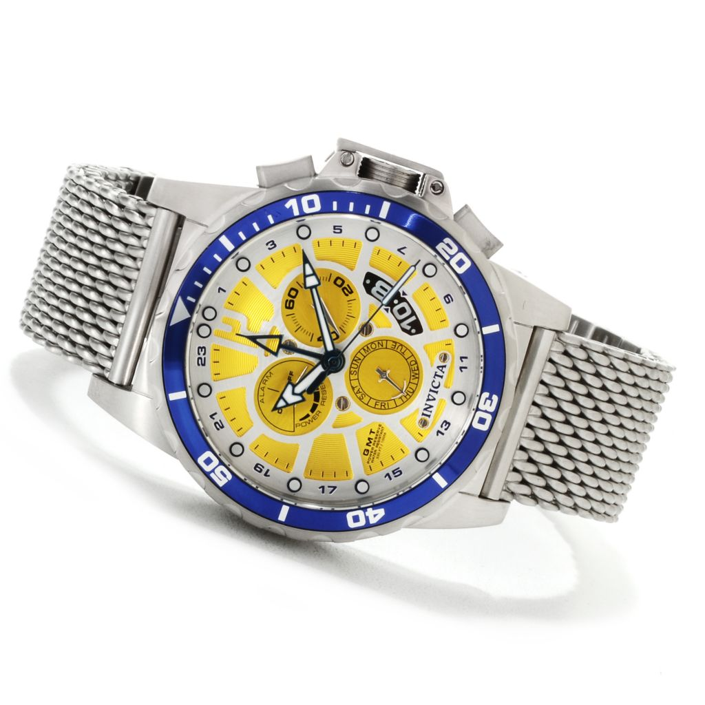622-503 - Invicta Men's Corduba Quartz GMT Alarm Mesh Stainless Steel Bracelet Watch
