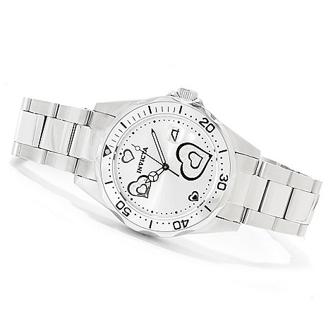 622-525 - Invicta Women's Pro Diver Love Edition Stainless Steel Bracelet Watch w/ Travel Box