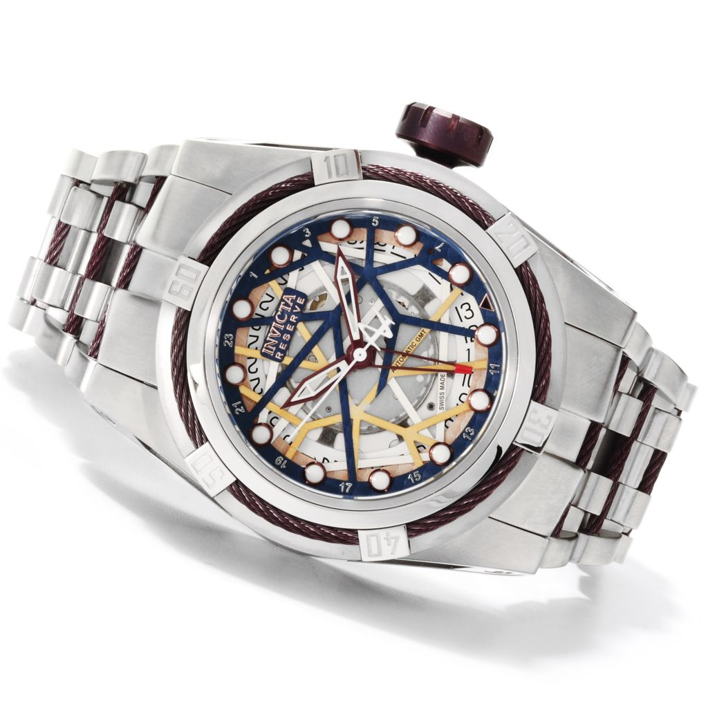 622-529 - Invicta Reserve 52mm Bolt Zeus Swiss Made Automatic A07 GMT Bracelet Watch
