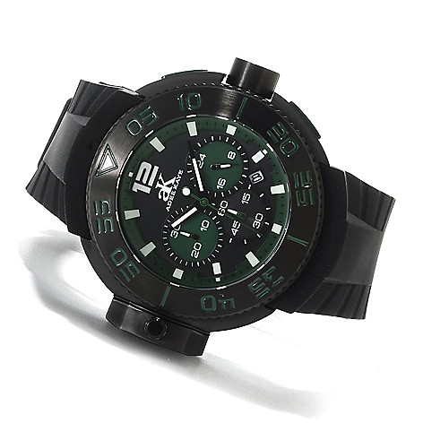 622-542 - Adee Kaye Men's Combat Quartz Chronograph Stainless Steel Rubber Strap Watch
