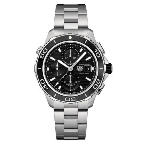 622-547 - TAG Heuer 43mm Aquaracer Swiss Made Automatic Chronograph Stainless Steel Bracelet Watch