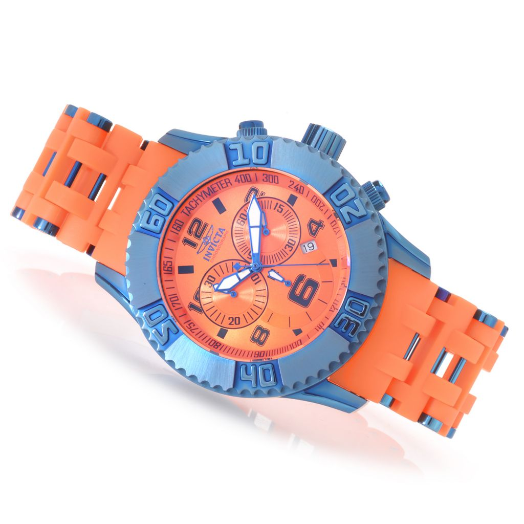 622-609 - Invicta 50mm Sea Spider XL Quartz Chronograph Stainless Steel Polyurethane Bracelet Watch