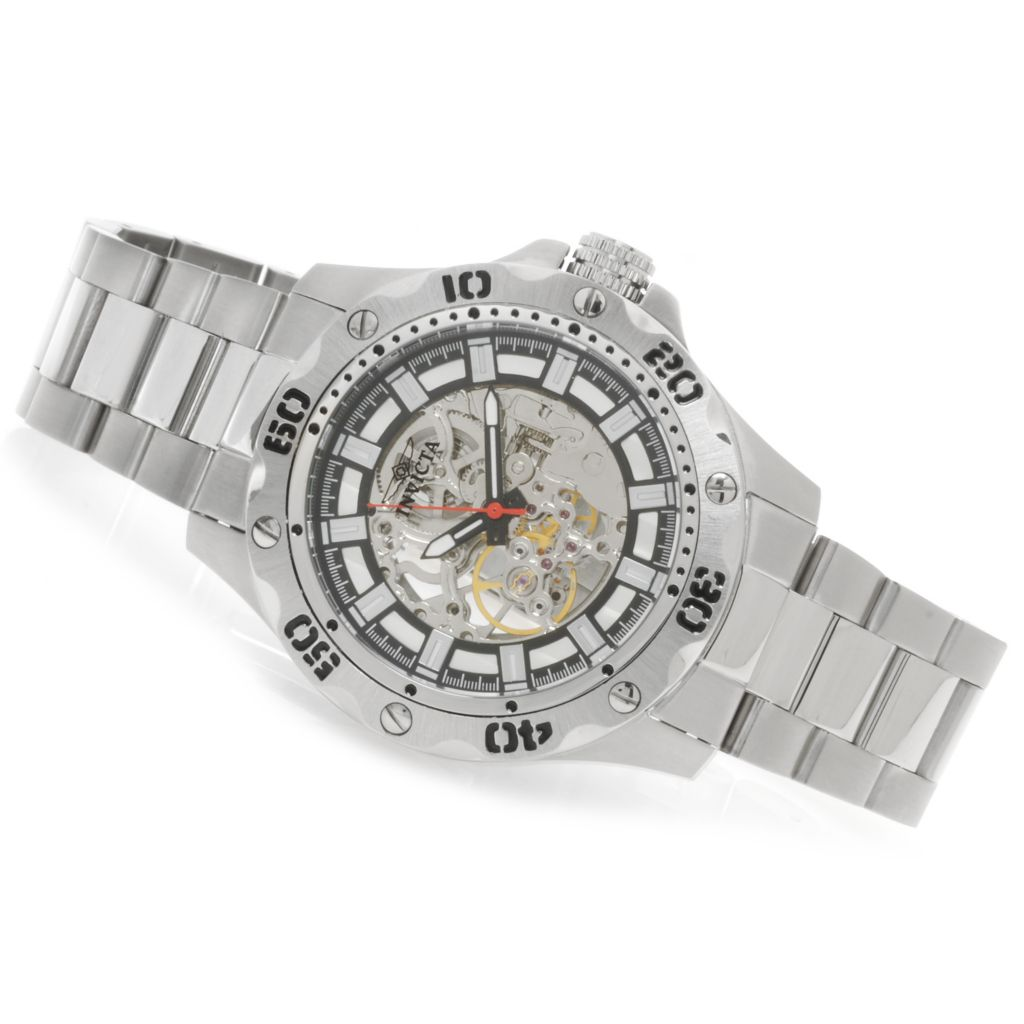 622-612 - Invicta Men's Specialty Python Mechanical Skeleton Dial Bracelet Watch