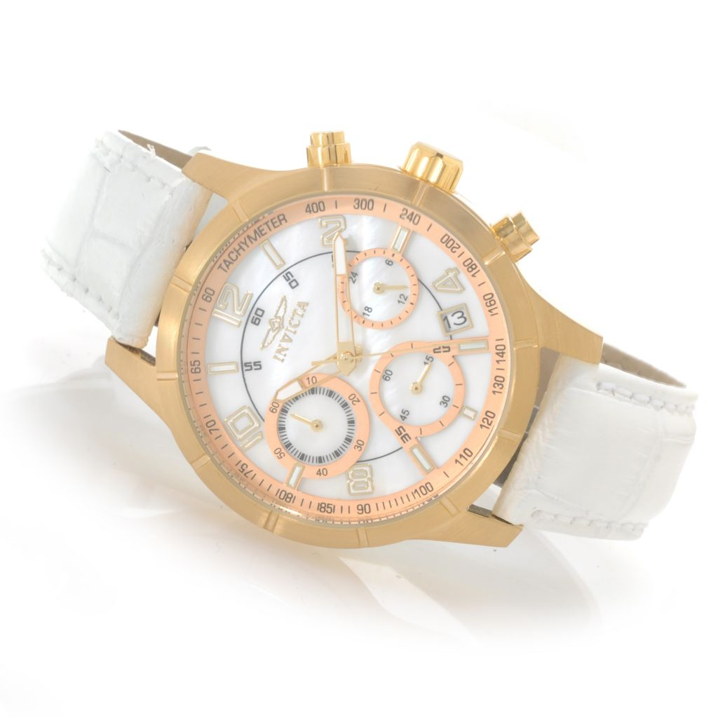 622-615 - Invicta Women's Angel Quartz Chronograph Leather Strap Watch w/ Three-Slot Travel Box