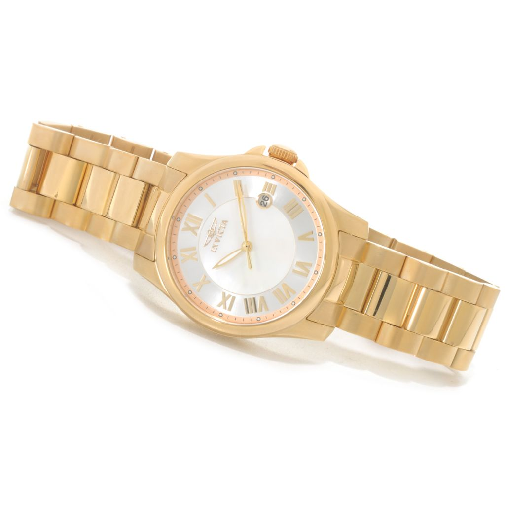622-616 - Invicta Women's Angel Quartz Mother-of-Pearl Dial Bracelet Watch w/ Travel Box