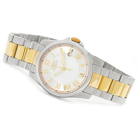622-617 - Invicta Women's Angel Quartz Mother-of-Pearl Bracelet Watch w/ Travel Box