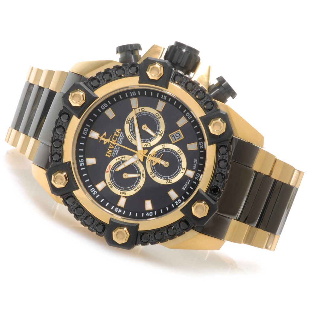 622-620 - Invicta Reserve 56mm Swiss Made Quartz Chronograph 2.98ctw Black Spinel Bezel Bracelet Watch