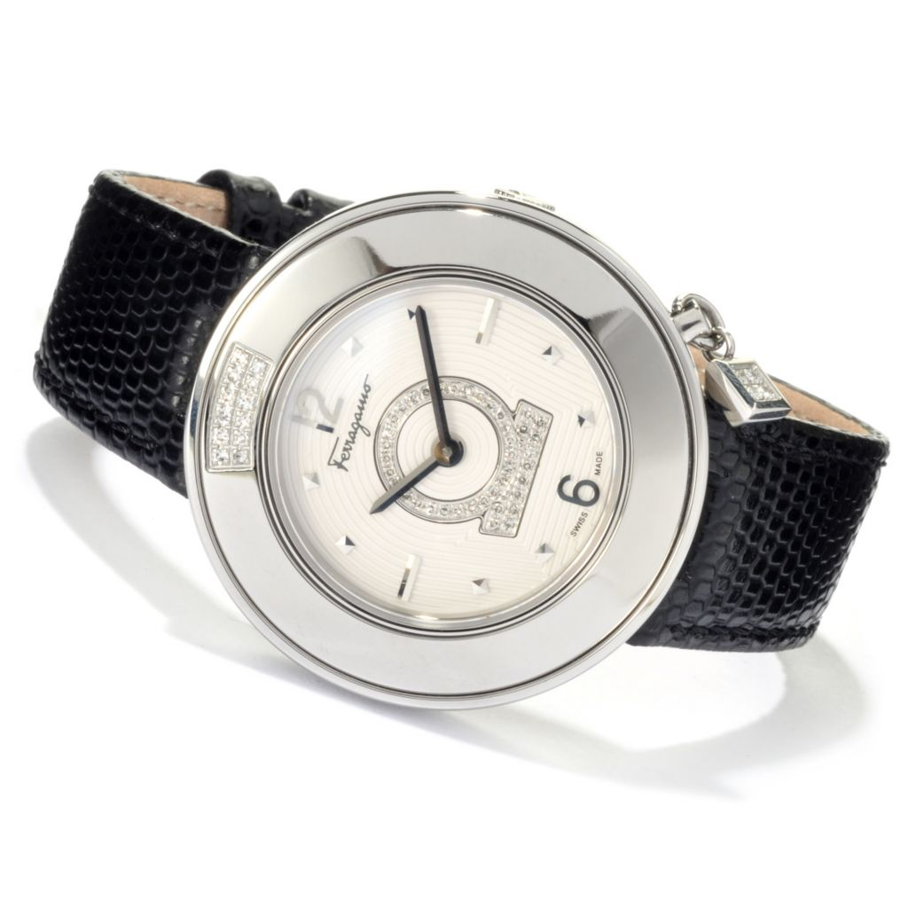 622-649 - Ferragamo Women's Gancino Sparkling Swiss Made Quartz Leather Strap Watch