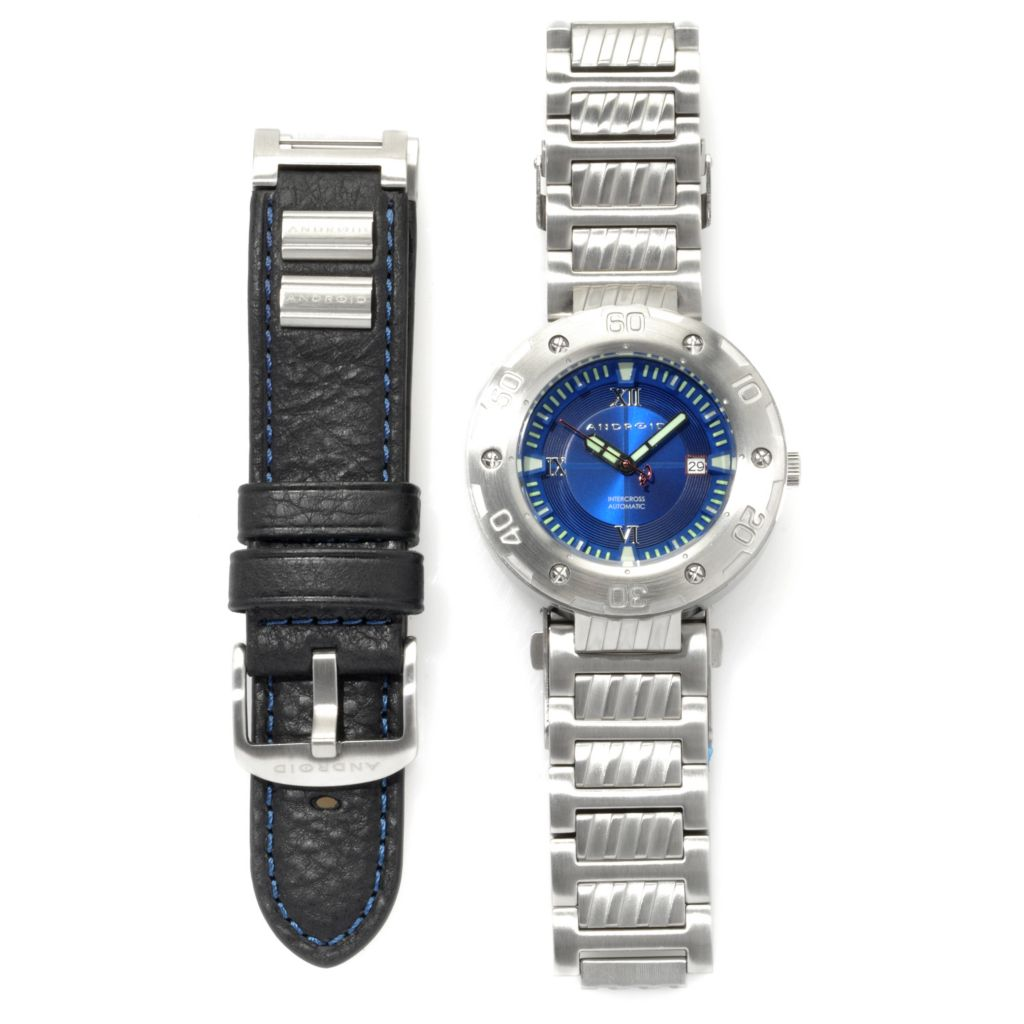 622-670 - Android Intercross Automatic Watch w/ Interchangeable Strap & 12-Slot Collector's Case