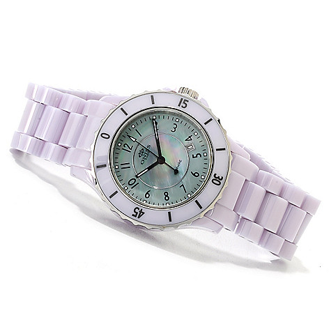 622-712 - Oniss Women's Ceramica Fuerte Quartz Mother-of-Pearl Ceramic Bracelet Watch