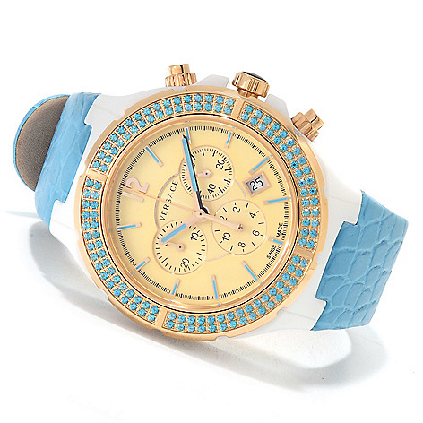 622-726 - Versace Women's DV One Cruise Swiss Made Quartz Chronograph Leather Strap Watch