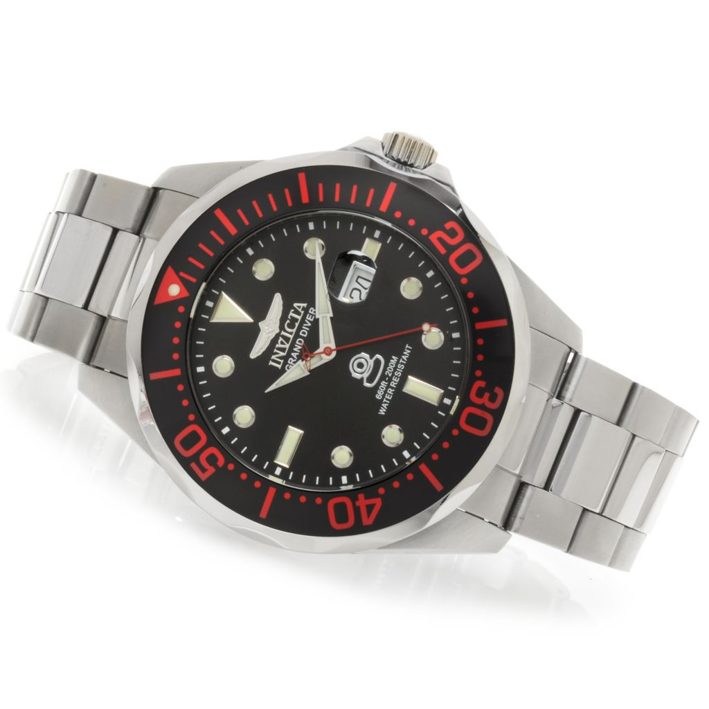 622-785 - Invicta Men's Grand Diver Quartz Stainless Steel Bracelet Watch w/ Eight-Slot Dive Case