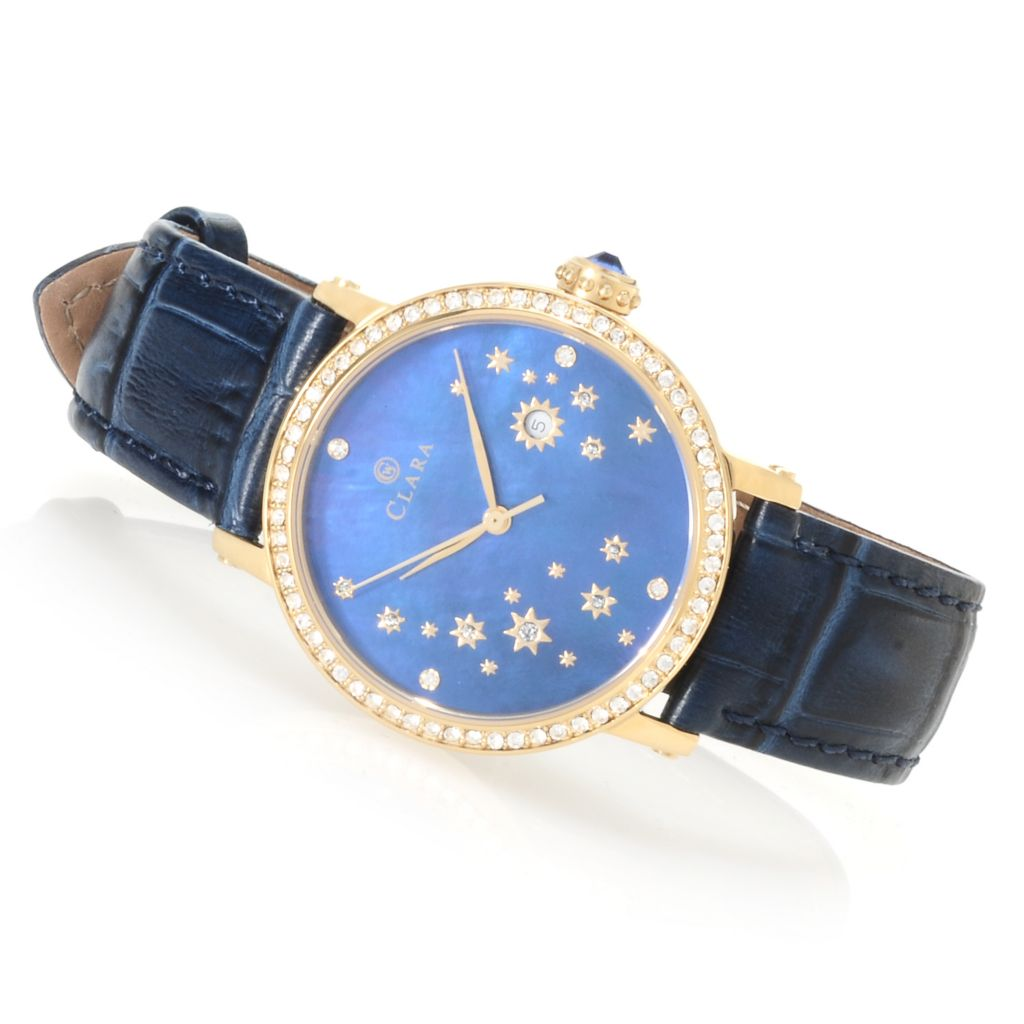 622-796 - Clara by CW Women's Quartz Mother-of-Pearl Leather Strap Watch Made w/ Swarovski® Elements