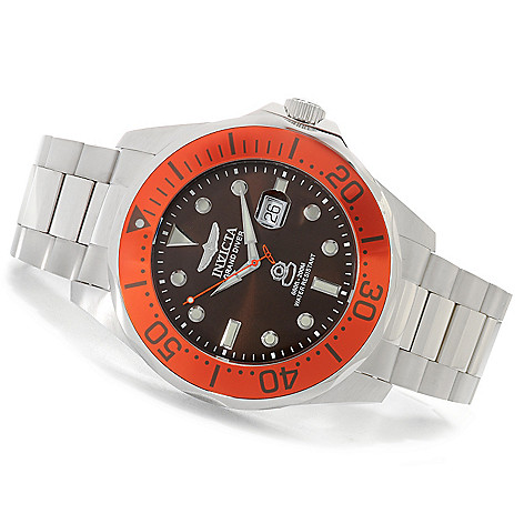 622-806 - Invicta 54mm Grand Diver Quartz Stainless Steel Bracelet Watch w/ Eight-Slot Dive Case