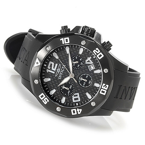 622-815 - Invicta Men's Specialty Quartz Carbon Fiber Dial Polyurethane Strap Watch w/ Three-Slot Dive Case