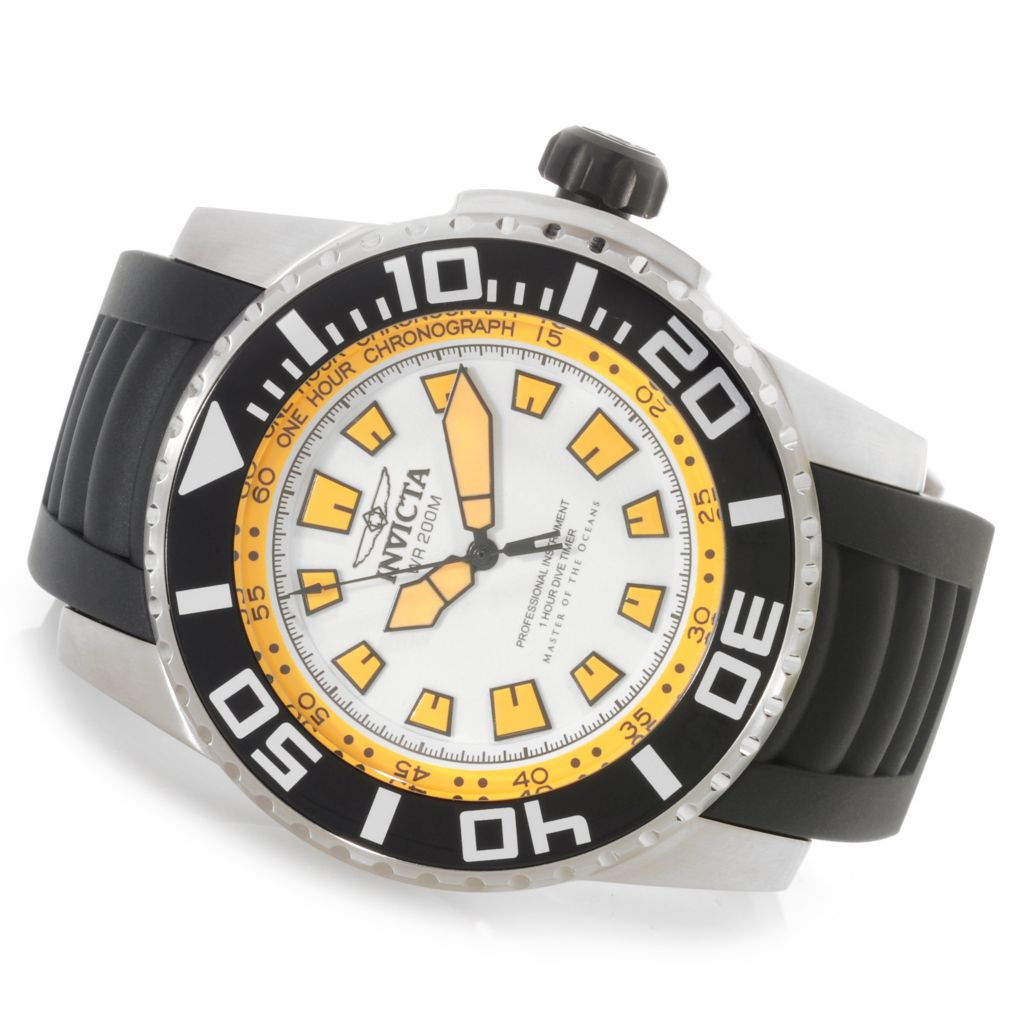 622-818 - Invicta 52mm Pro Diver Swiss Quartz Stainless Steel Polyurethane Strap Watch