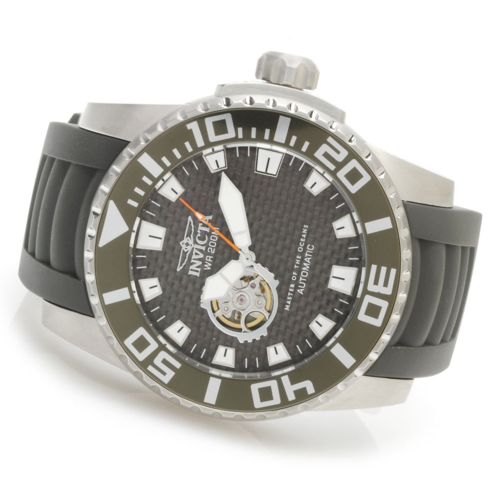 622-820 - Invicta 52mm Pro Diver Barracuda Open Heart Automatic Carbon Fiber Dial Polyurethane Strap Watch