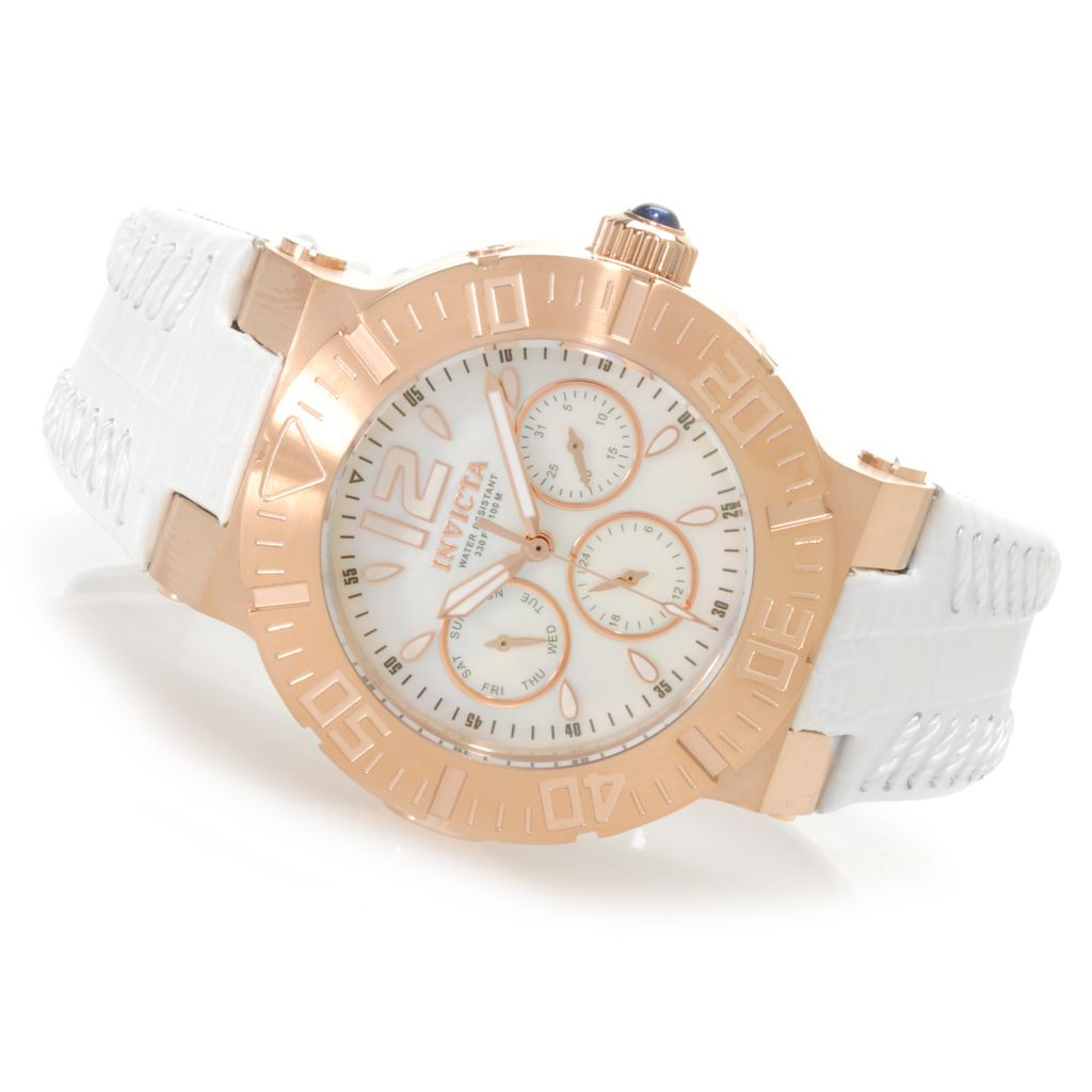 622-822 - Invicta Women's Angel Reef Quartz Multi Function Leather Strap Watch