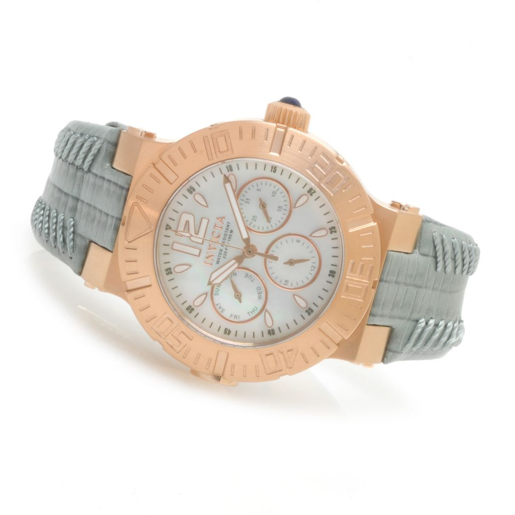 622-823 - Invicta Women's Angel Reef Quartz Multi Function Stainless Steel Leather Strap Watch
