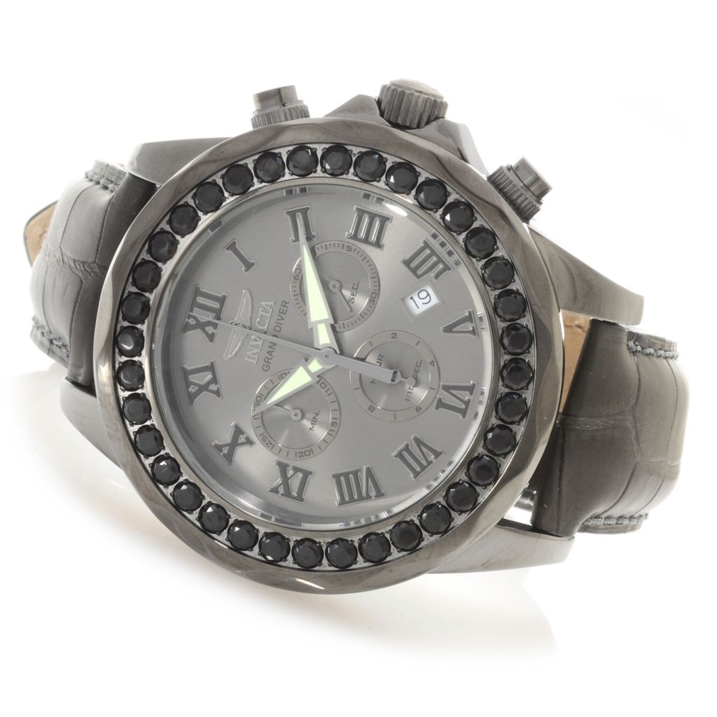 622-853 - Invicta 47mm Grand Diver Limited Edition Black Spinel Bezel Alligator Strap Watch
