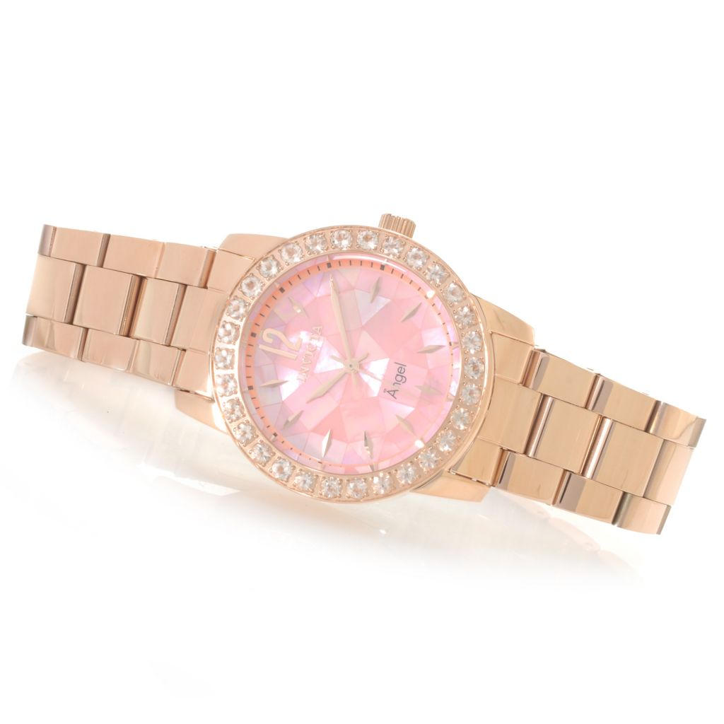 622-854 - Invicta Women's Angel Blush Mosaic Mother-of-Pearl 2.73ctw Morganite Bracelet Watch