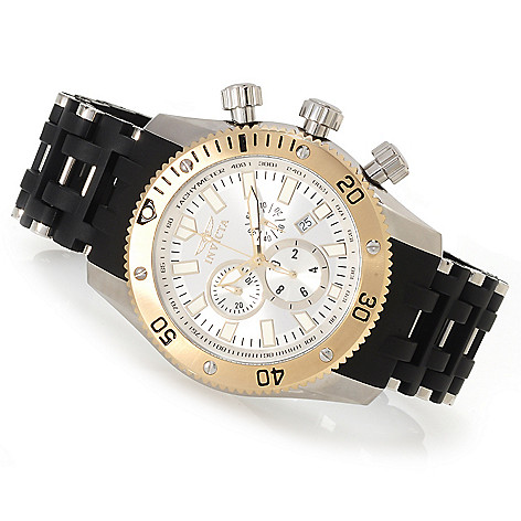 622-927 - Invicta 50mm Sea Spider Quartz Chronograph Polyurethane Bracelet Watch w/ Three-Slot Dive Case