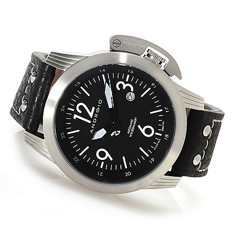 622-966 - Android Men's Skyguardian Automatic Leather Strap Watch