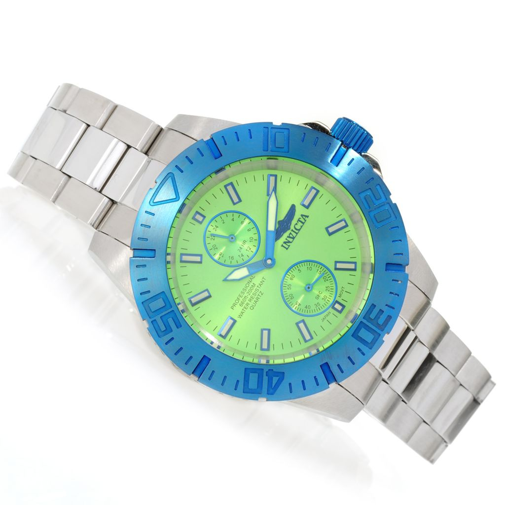 622-993 - Invicta 44mm Pro Diver Ocean Baron Quartz Bracelet Watch w/ Eight-Slot Dive Case