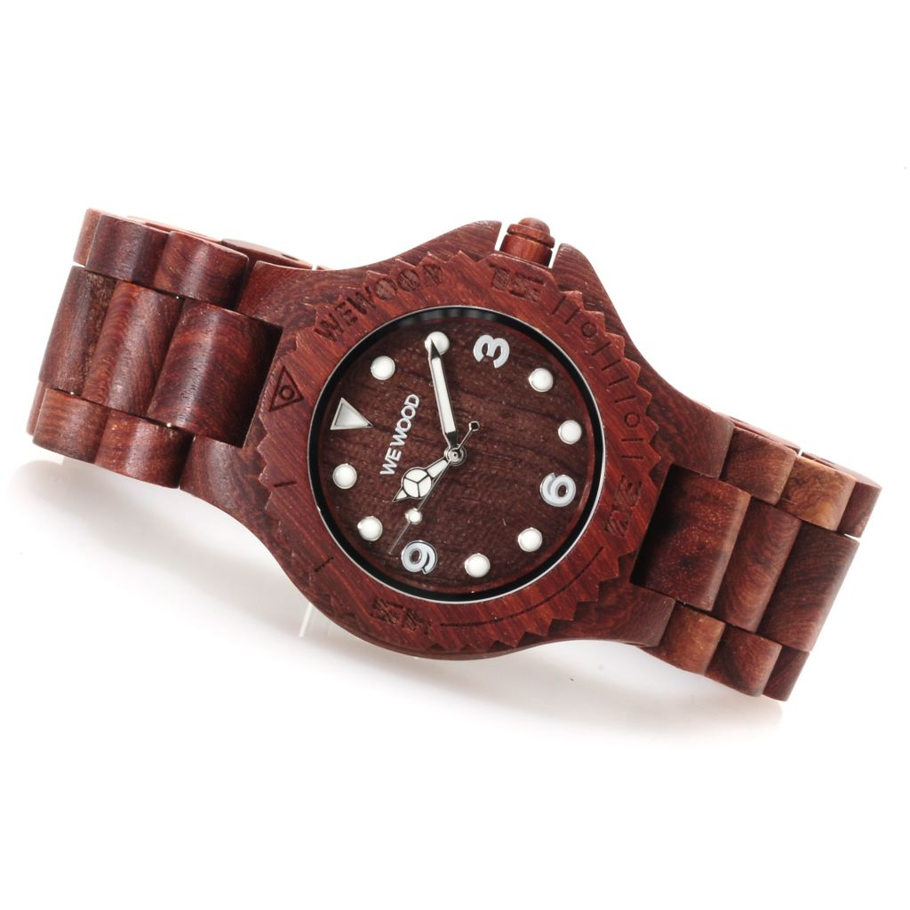 623-001 - WeWOOD 42mm Aludra Quartz Wooden Bracelet Watch