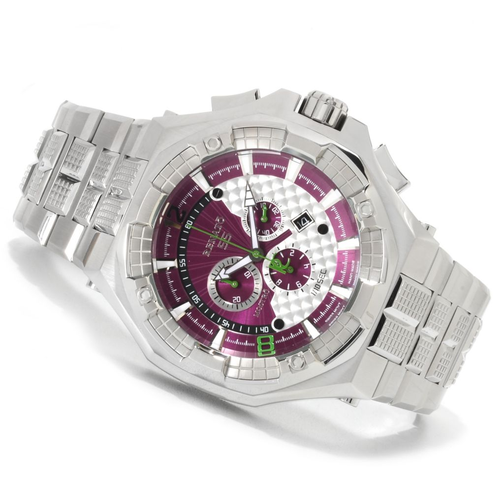 623-009 - Renato Men's Mostro Swiss Quartz Chronograph Stainless Steel Bracelet Watch