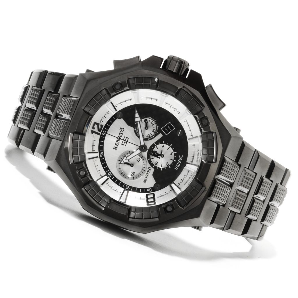 623-010 - Renato Men's Mostro Swiss Quartz Chronograph Stainless Steel Bracelet Watch