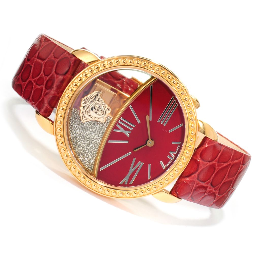 623-050 - Versace Women's Krios Swiss Made Quartz Leather Strap Watch