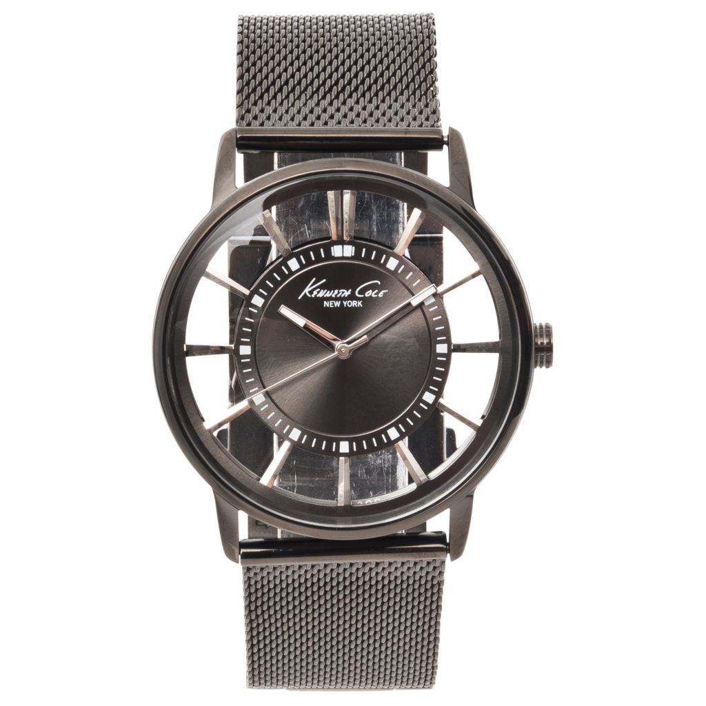 623-106 - Kenneth Cole New York Men's Transparent Dial Gunmetal Mesh Strap Watch