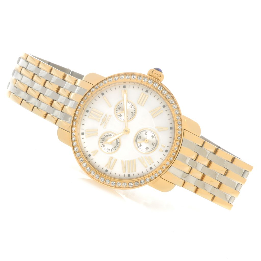 623-120 - Invicta Women's Angel Stardust Mother-of-Pearl Bracelet Watch w/ Three-Slot Travel Box