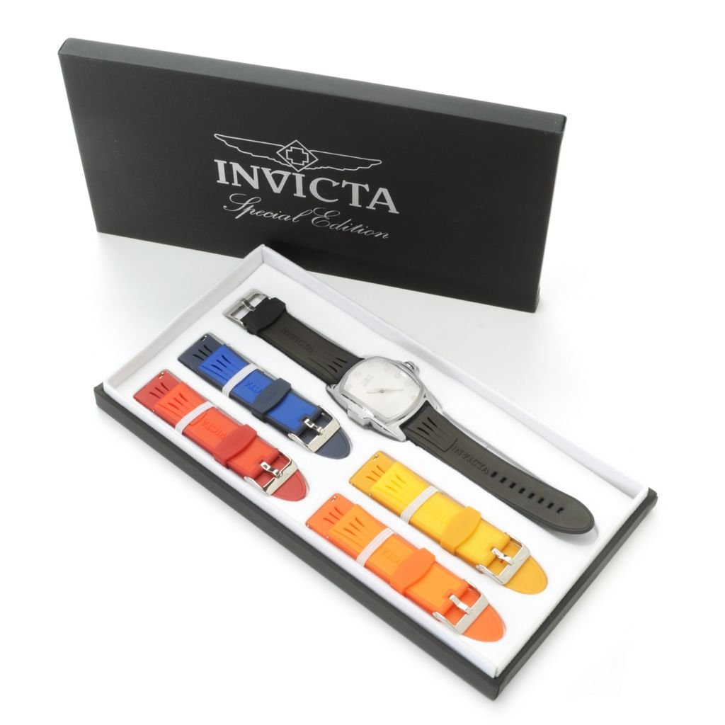 623-128 - Invicta Grand or Baby Lupah Quartz Stainless Steel Watch w/ Five-Piece Polyurethane Strap Set
