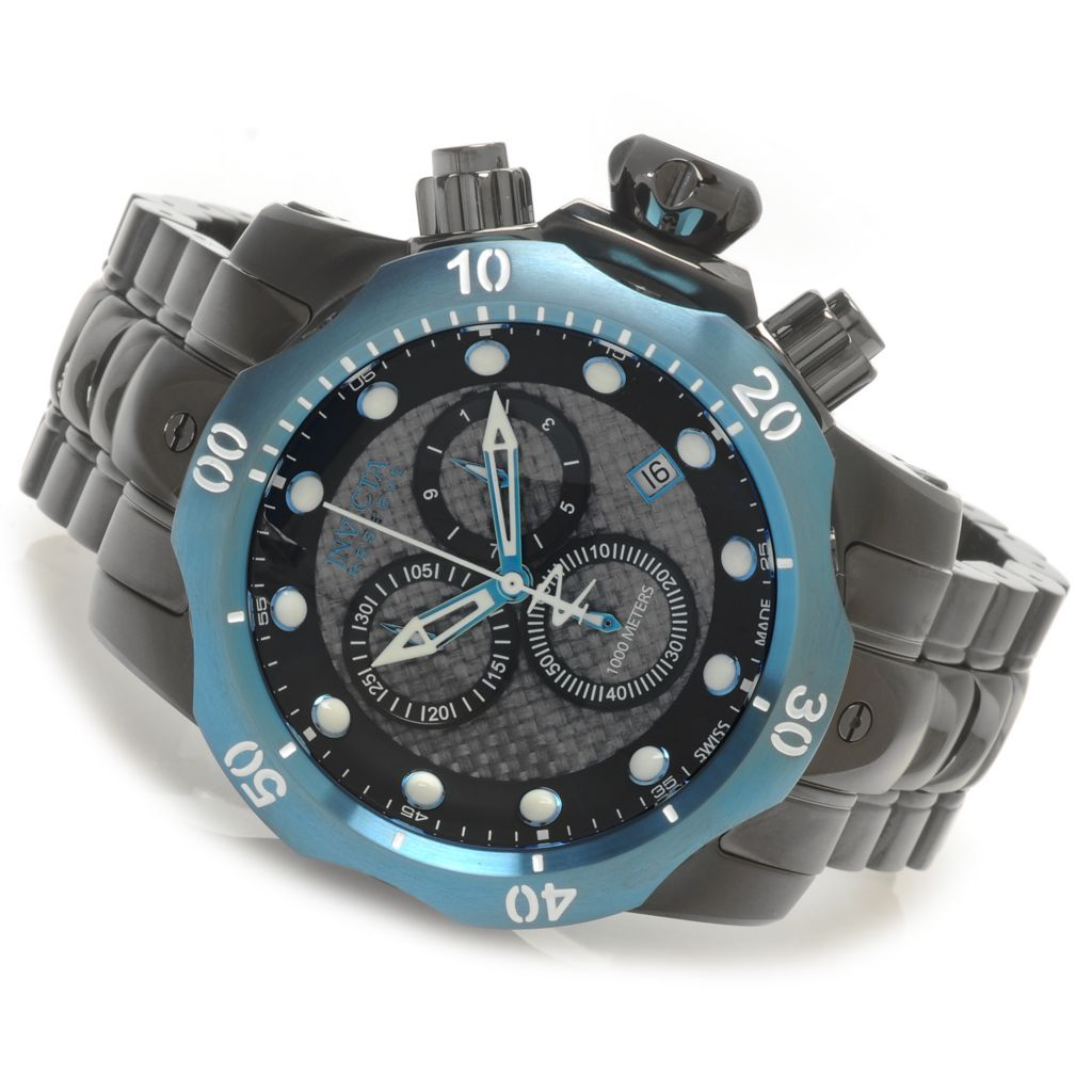 623-144 - Invicta Reserve 54mm Venom Swiss Chronograph Carbon Fiber Dial Bracelet Watch w/ One-Slot Dive Case