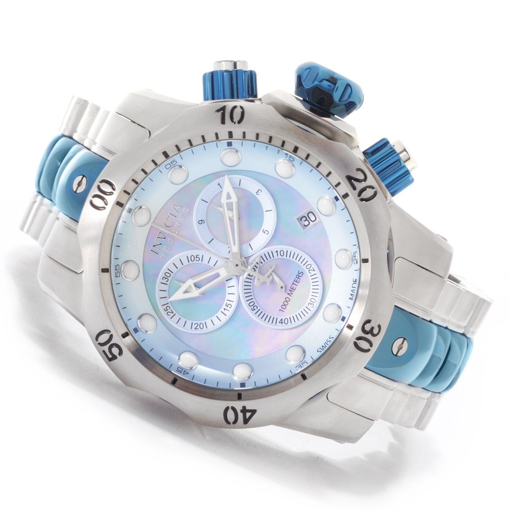 623-145 - Invicta Reserve 52mm Venom Swiss Chronograph Mother-of-Pearl Bracelet Watch w/ One-Slot Dive Case