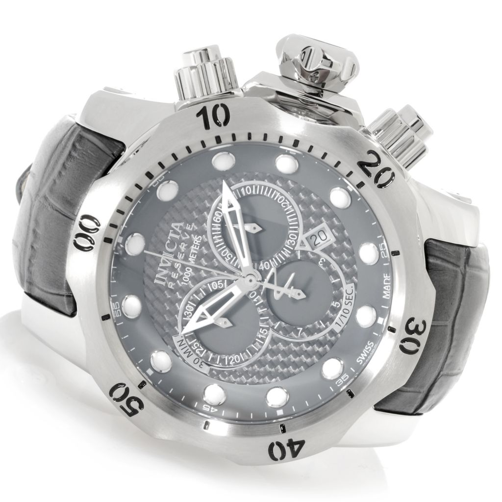 623-146 - Invicta Reserve 52mm Venom Swiss Made Quartz Carbon Fiber Dial Leather Strap Watch