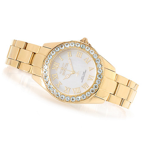 623-192 - Invicta Women's Angel Gems Quartz Limited Edition Mother-of-Pearl Bracelet Watch