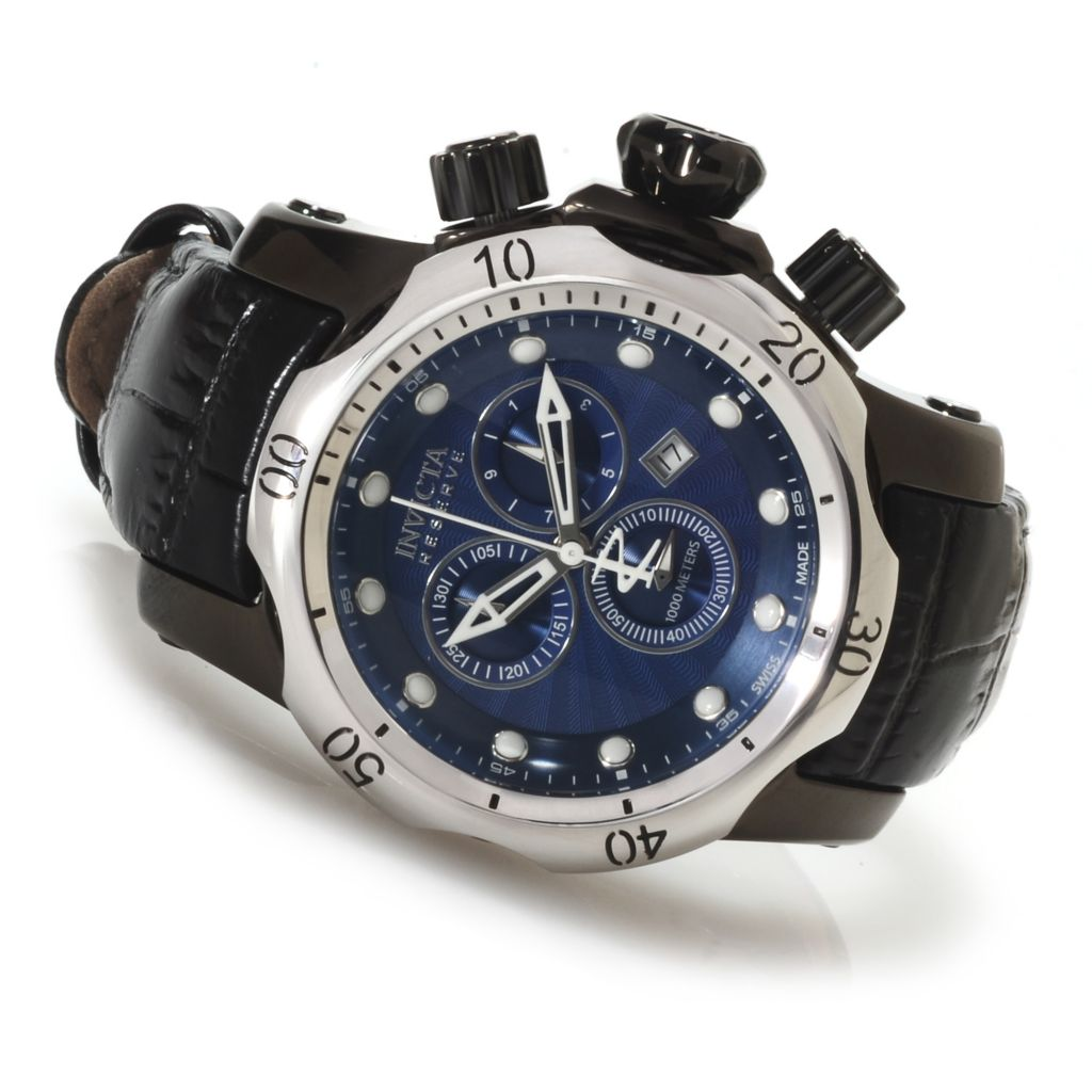 623-213 - Invicta Reserve Mid-Size Venom Swiss Made Quartz Chronograph Leather Strap Watch