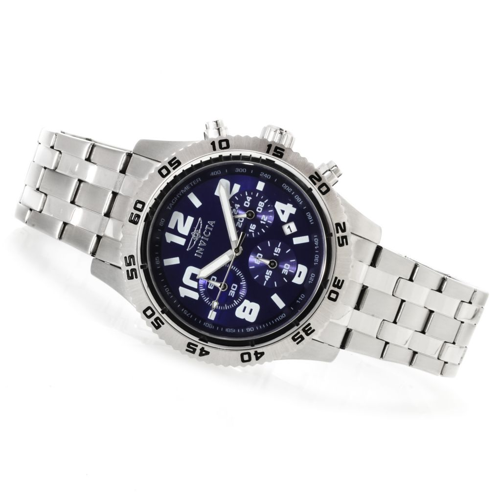623-218 - Invicta 45mm Specialty Quartz Chronograph Bracelet Watch w/ Three-Slot Dive Case