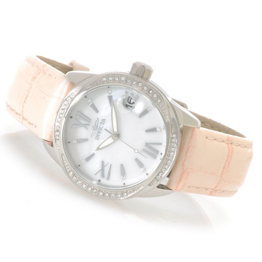 623-224 - Invicta Women's Wildflower Quartz Mother-of-Pearl Crystal Accented Bezel Leather Strap Watch