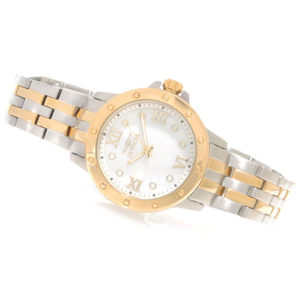 623-227 - Invicta Women's Angel Quartz Mother-of-Pearl Dial Bracelet Watch w/ Travel Box